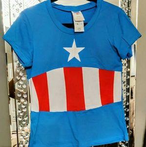 Captain America Superhero T-shirt Costume w Mask